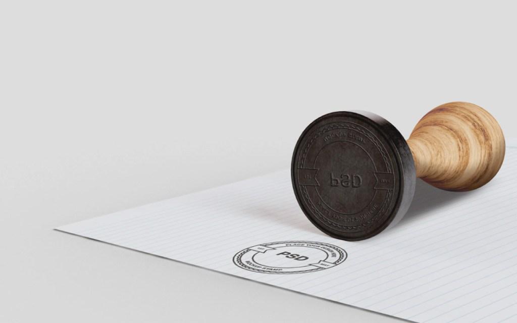 Rubber Stamp Logo Mockup Free
