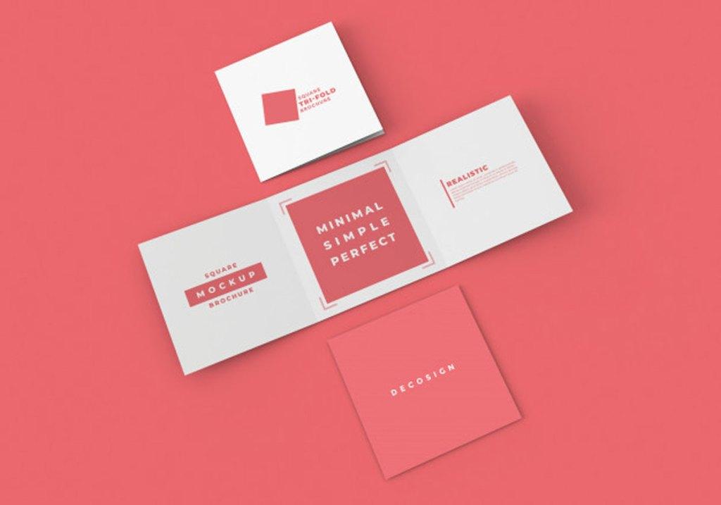 Square Tri Fold Brochure Mockup Premium Free 1