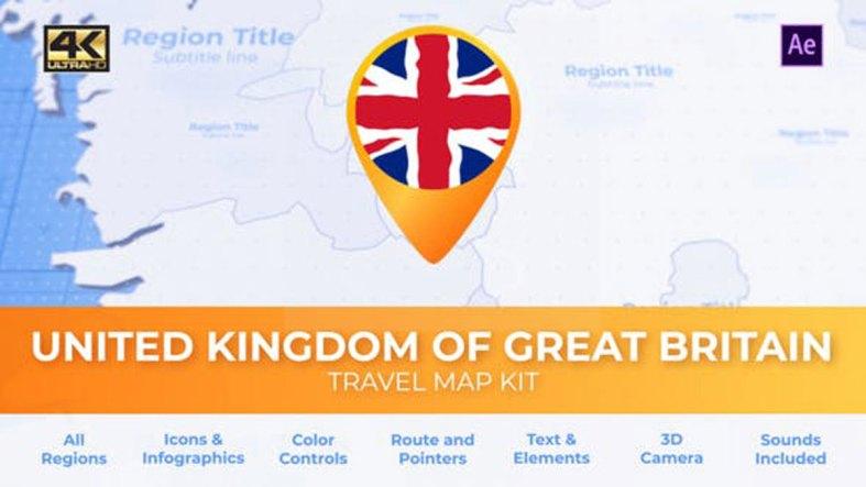 Videohive United Kingdom of Great Britain Map United Kingdom Travel Map 27803206