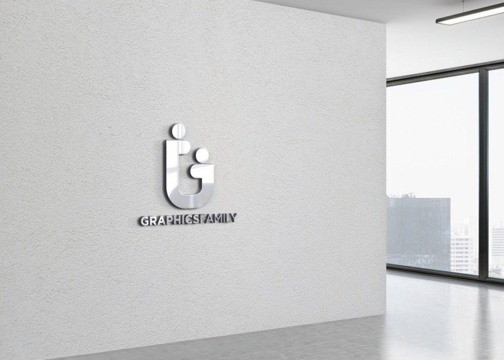 3D Office Wall PSD Logo Mockup