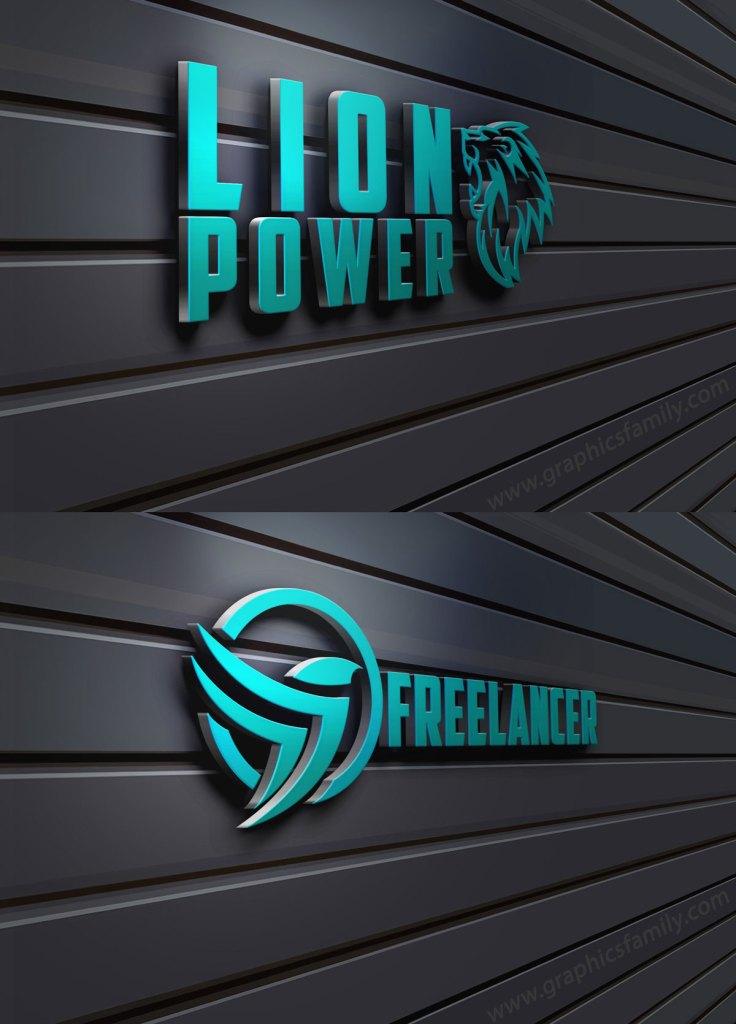 Free 3D Wall Logo Mock Up Vol2 Download
