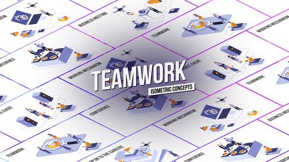 Videohive Teamwork Isometric Concept 28986962