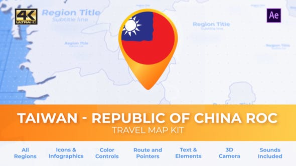 Videohive Taiwan Animated Map - Republic of China ROC Travel Map 30570278