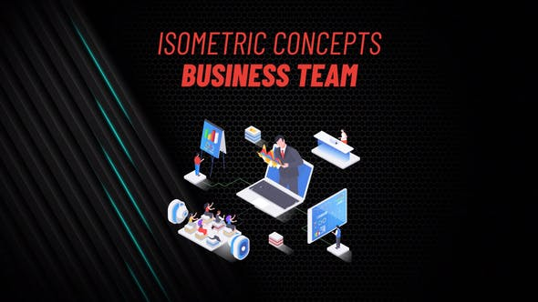 Videohive Business Team Isometric Concept 31223437