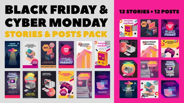 Videohive Black Friday and Cyber Monday Stories Pack 29331807
