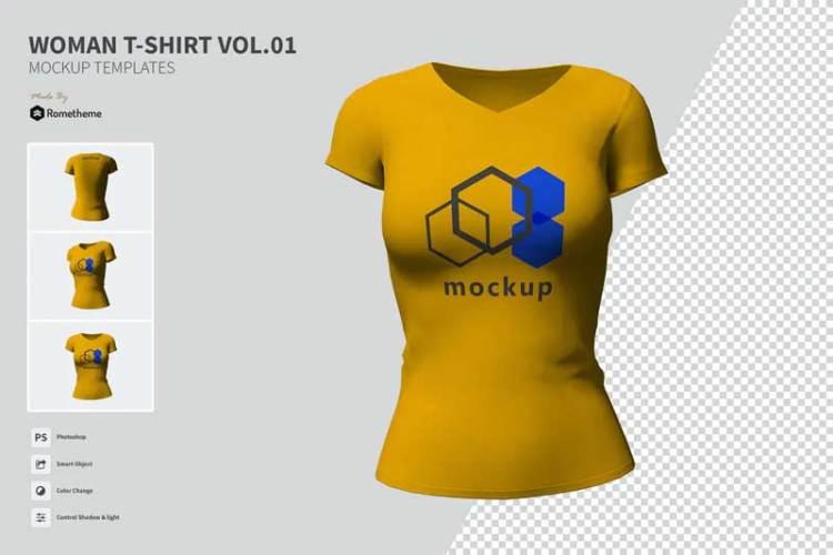 Woman T-shirt - Mockup VR V2C37K9