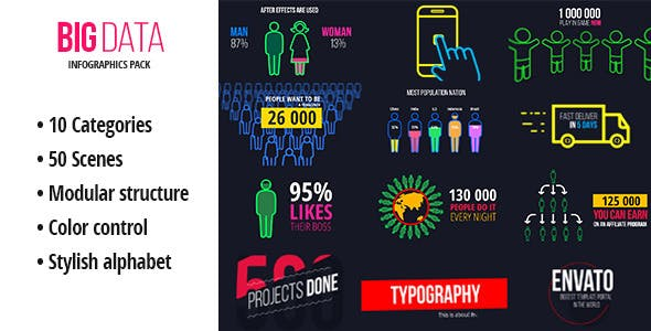Videohive BigData Ultimate Infographics Pack 13604124