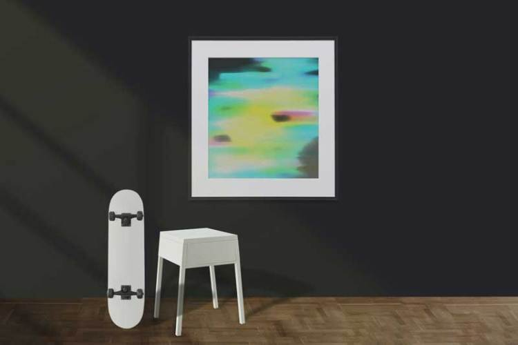 Colorful abstract paint on the wall with skateboar