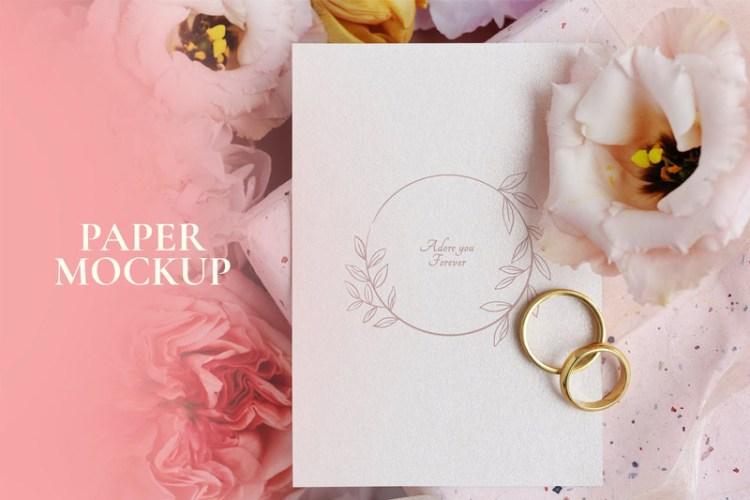 Floral wedding card mockup