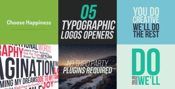 Videohive 5 Typographic Logos Openers 10766094