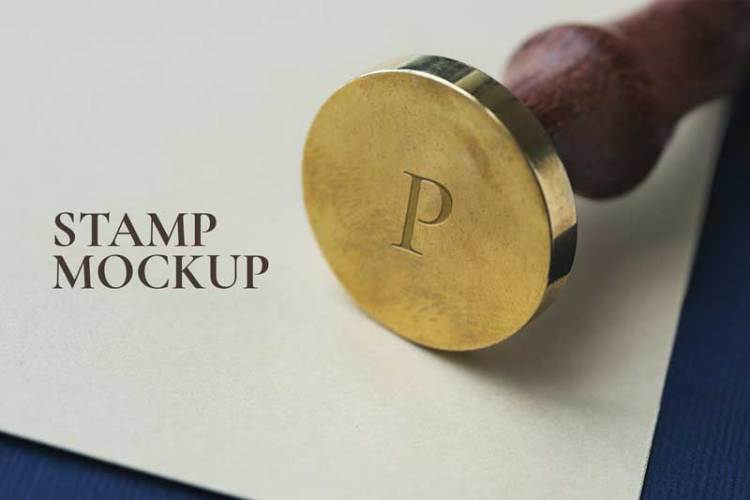 Vintage gold wax seal stamp with a wooden handle