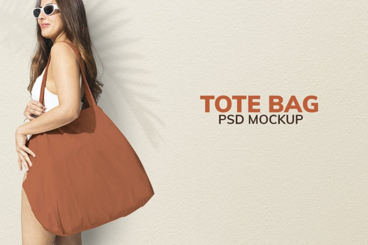 Brown tote bag mockup psd ready for the beach