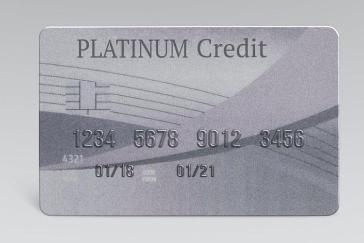 Platinum credit card mockup psd money and banking