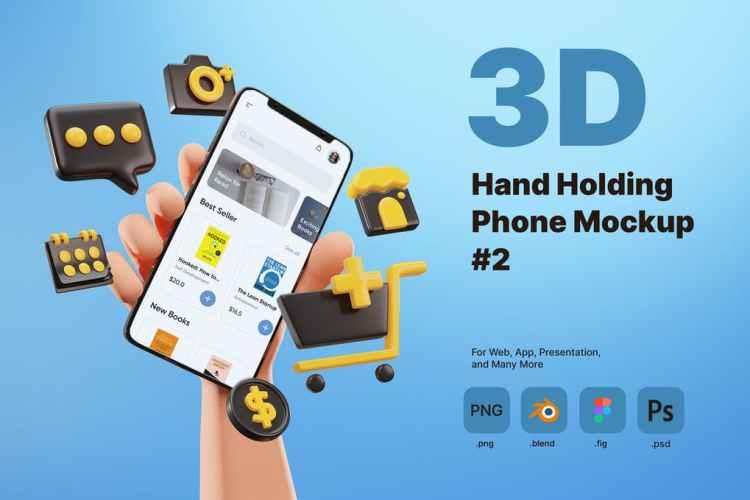 3D Hand Holding Phone Mockup for E-commerce