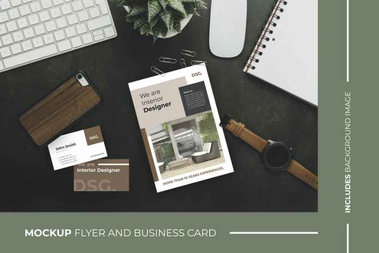 Business Card and Flyer – Brochure – Mockup