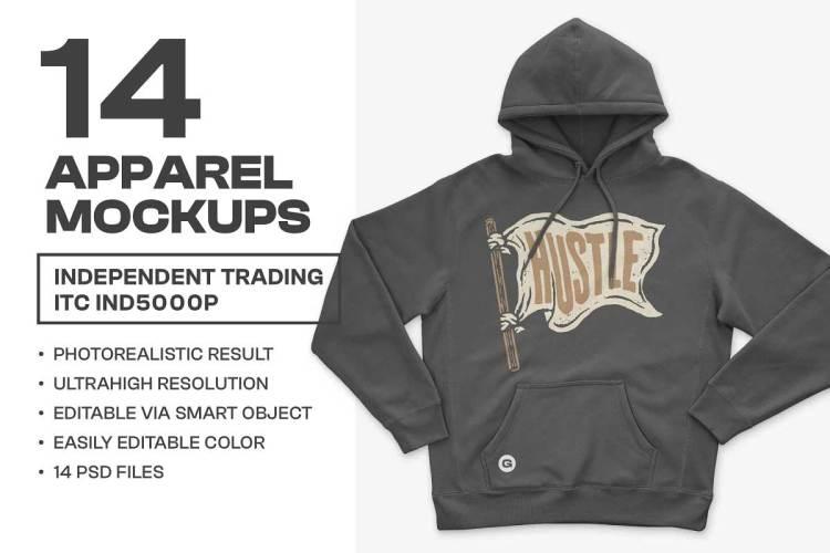 CreativeMarket - IND5000 Heavyweight Hoodie Mockups 6466505