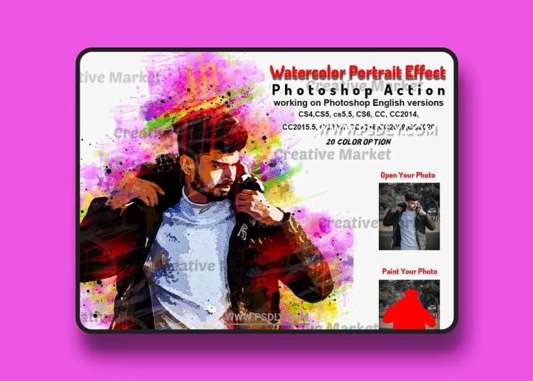 CreativeMarket - Watercolor Portrait Effect PS 6471713