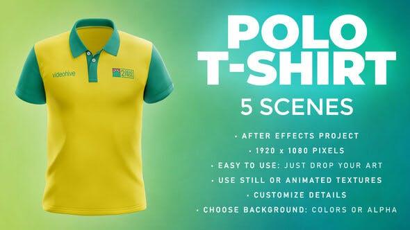 Videohive Polo T-shirt - 5 Scenes Mockup Template - Animated Mockup PRO 33808963