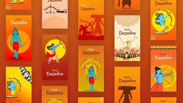 Videohive Happy Dussehra Instagram Stories 34157955