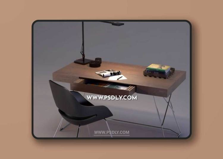 Maestrale Desk & Eva Chair by Zanotta 3D Models