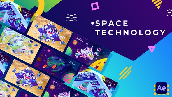 Videohive Space Technology Isometric Animation | After Effects 34038854
