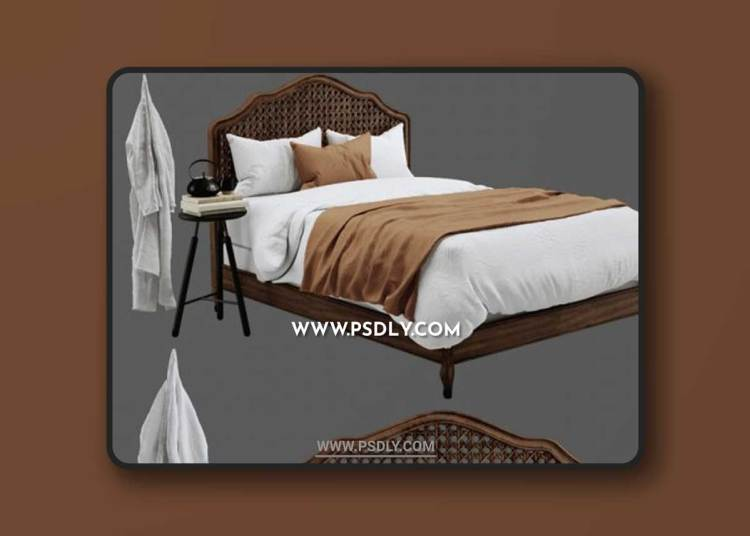 RH Lorraine Caned Bed 3D Models