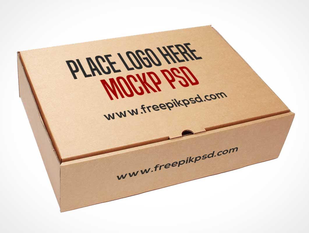 Free Cardboard Box Psd Mockup Template