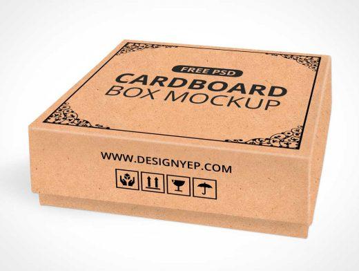 Download Cardboard Square Shipping Box PSD Mockup - PSD Mockups