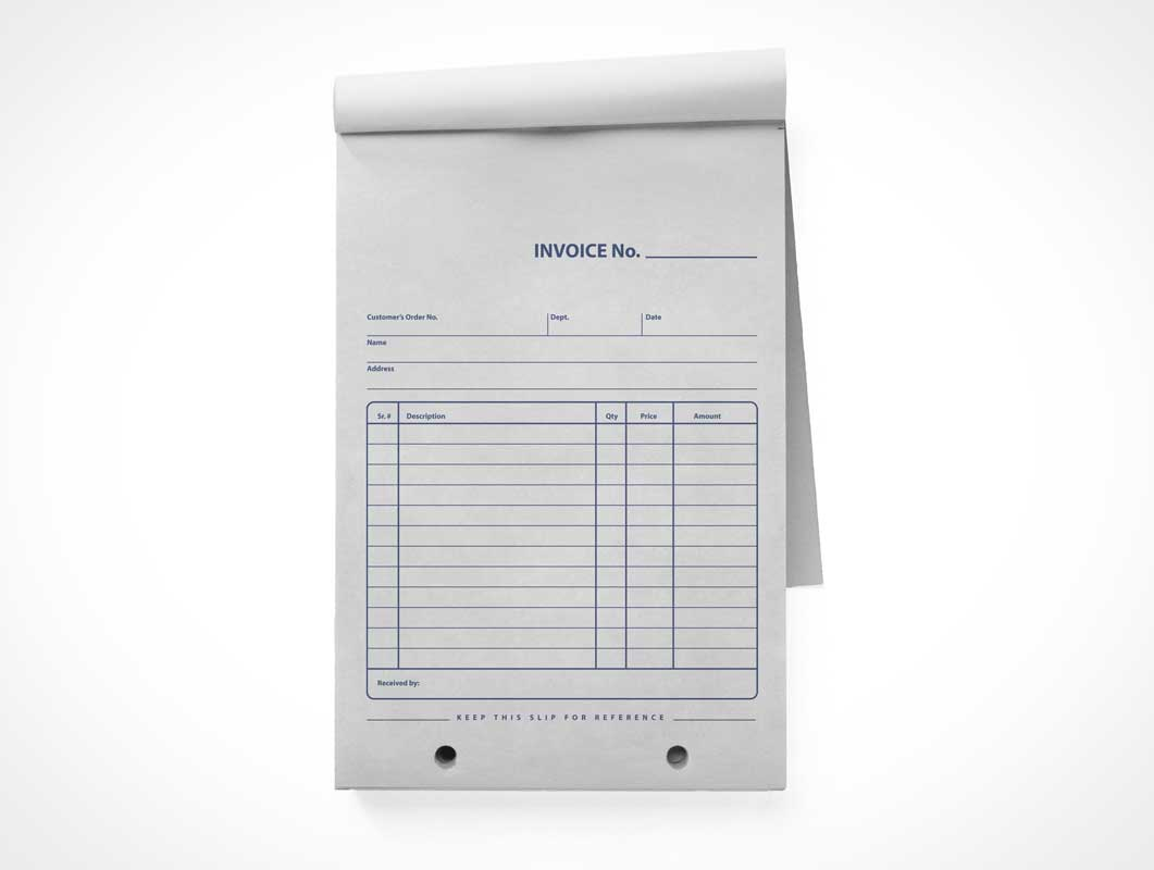 Retail Invoice   Receipt Notepad Front PSD Mockup   PSD Mockups Retail Invoice   Receipt Notepad Front PSD Mockup