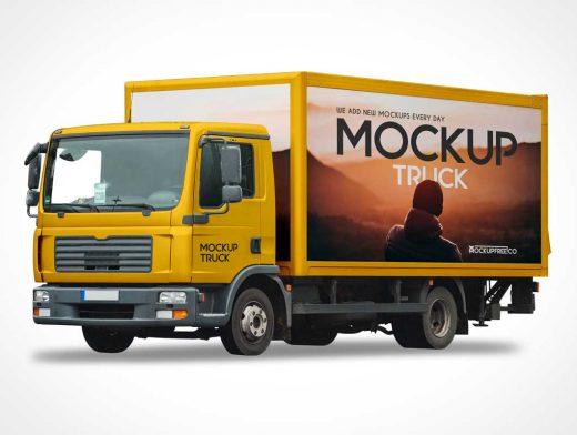 Download Box Cargo Van Delivery Truck & Cab PSD Mockup - PSD Mockups