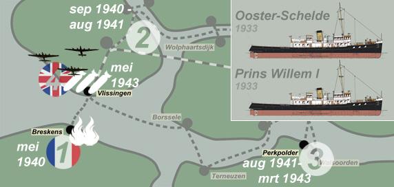 Kaart van Zeeland in de oorlog