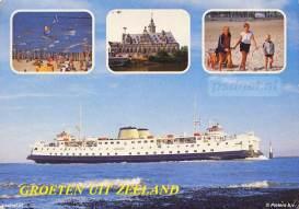 Een ansichtkaart met Groeten uit Zeeland en de veerboot Prinses Margriet.