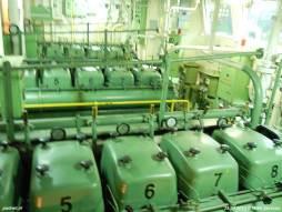 De machinekamer van de voormalige PSD-veerboot Prinses Christina, in Italië Ladies Matacena geheten.