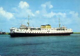 De Prinses Margriet in de Buitenhaven van Vlissingen. Net als de zusterschepen Prinses Beatrix en Prinses Irene had de Prinses Margriet een groot rijdek met een oppervlakte van 1300m2.