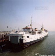 De fuik van Vlissingen met de Prinses Margriet in 1992. Eind 1995 maakt de veerboot haar laatste overtochten tussen Vlissingen en Breskens.