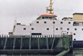 De fuik van Kruiningen met daarin gelegen de veerboot Prinses Juliana.