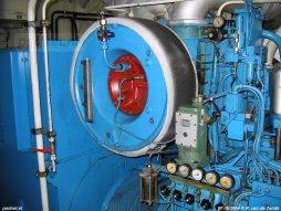 Een detailfoto van de Turbo ABB in de machinekamer van de Westerschelde ferry Prins Johan Friso.