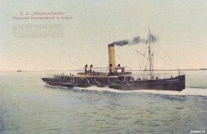 Een fraaie ansichtkaart van de PSD-veerboot Westerschelde bij vertrek uit Breskens, volgens PSD-gebruik werd er achteruit gevaren en op de rivier gezwaaid.
