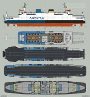 Bekijk de verschillen tussen de Koningin Beatrix in PSD-dienst en de dezelfde veerboot als Tremestieri in Italië in de vaart voor Caronte & Tourist.