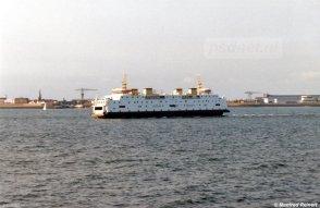 De PSD-veerboot van Vlissingen-Breskens gezien in 1990.