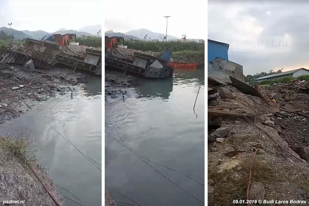 Het laatste schroot van de voormalige PSD-veerboot Prinses Margriet bij de illegale sloperij in Bojonegara.