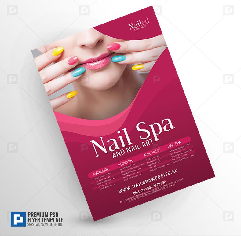 nail spa and nail salon flyer psdpixel