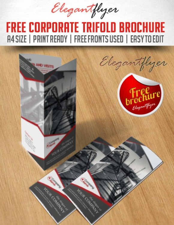 Business Corporate Tri-Fold Brochure PSD Template