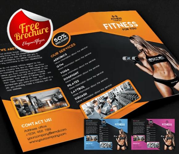 Fitness Tri-Fold Brochure PSD Template