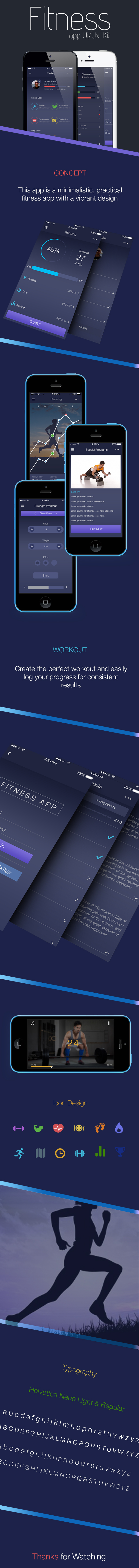 Free Fitness App UI Kit PSD