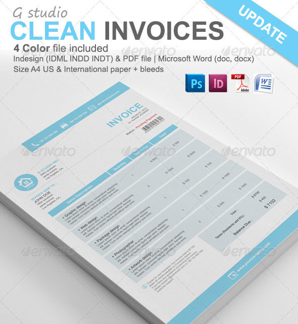 Gstudio Clean Invoices Template. Download [st_divider_dashed]  Microsoft Word Invoice Template Free Download