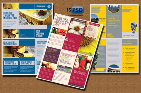 Pack of Tri-fold PSD Brochures Templates