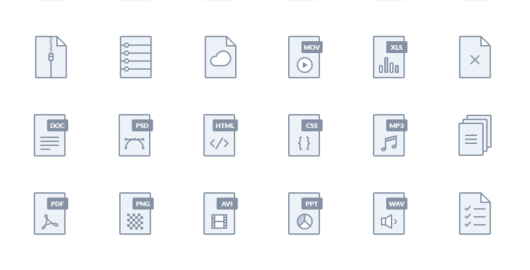 SetofFileTypeIcons FreePSDDownload