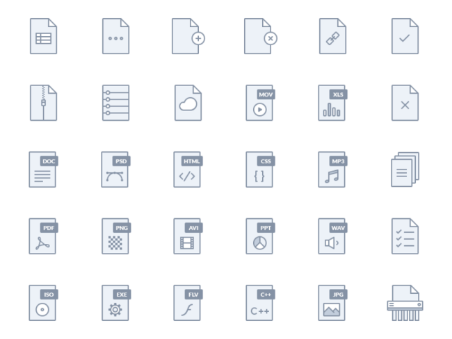Set of File Type Icons - Free PSD Download