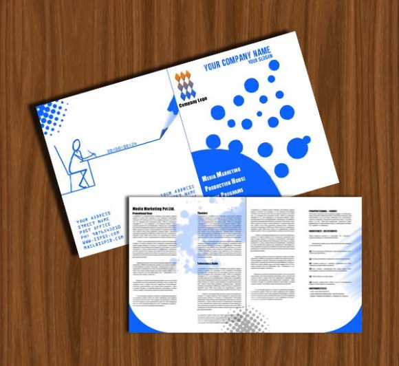 Simple Media Marketing Bi-Fold Brochure PSD Template